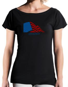 Flag Usa Connecticut T-Shirt - Boat-Neck-Womens