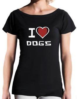 I Love Dogs T-Shirt - Boat-Neck-Womens