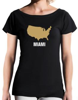 Miami - Usa Map T-Shirt - Boat-Neck-Womens