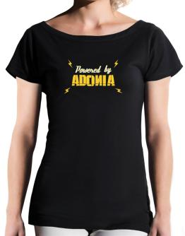 Powered By Adonia T-Shirt - Boat-Neck-Womens