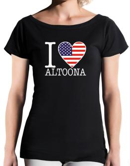 """ I love Altoona - American Flag "" T-Shirt - Boat-Neck-Womens"