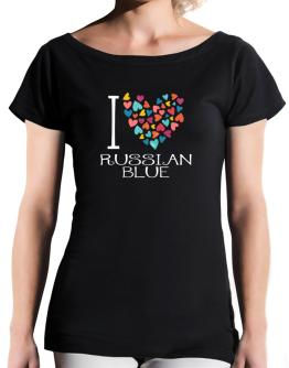 I love Russian Blue colorful hearts T-Shirt - Boat-Neck-Womens
