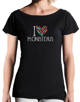 I love Monsters colorful hearts T-Shirt - Boat-Neck-Womens