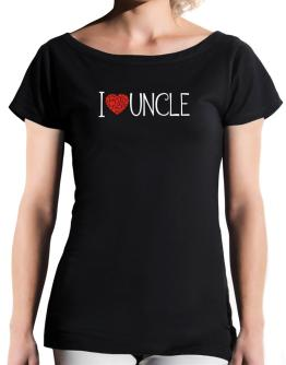 I love Auncle cool style T-Shirt - Boat-Neck-Womens