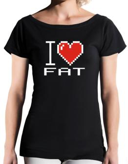 I love Fat pixelated T-Shirt - Boat-Neck-Womens