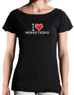 I love Monsters pixelated T-Shirt - Boat-Neck-Womens