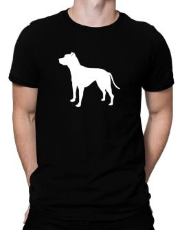 American Pit Bull Terrier Silhouette Embroidery Men T-Shirt