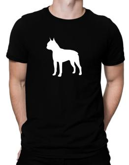 Boston Terrier Silhouette Embroidery Men T-Shirt