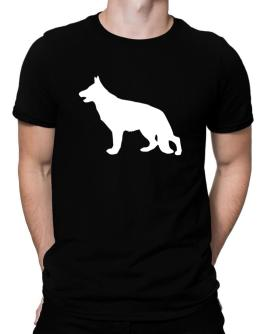 German Shepherd Silhouette Embroidery Men T-Shirt