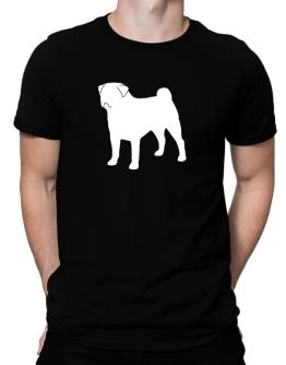 Pug Silhouette Embroidery Men T-Shirt