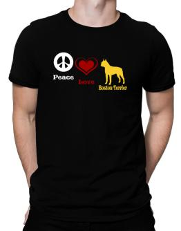 Peace, Love, Boston Terrier Men T-Shirt