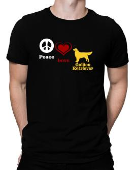 Peace, Love, Golden Retriever Men T-Shirt