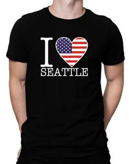 """ I love Seattle - American Flag "" Men T-Shirt"