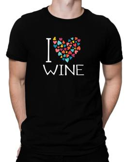 I love Wine colorful hearts Men T-Shirt