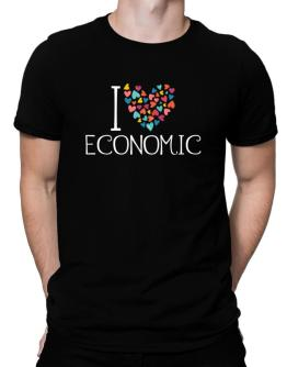 I love Economic colorful hearts Men T-Shirt