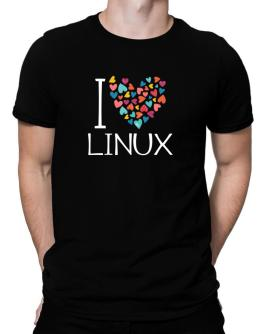 I love Linux colorful hearts Men T-Shirt