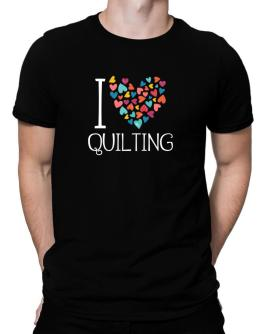 I love Quilting colorful hearts Men T-Shirt