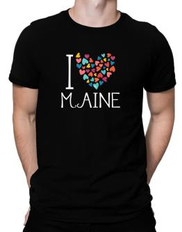 I love Maine colorful hearts Men T-Shirt