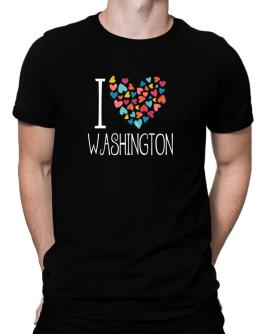 I love Washington colorful hearts Men T-Shirt