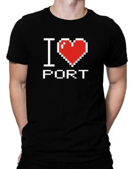 I love Port pixelated Men T-Shirt