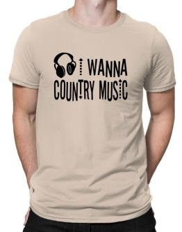 """ I WANNA Country Music - headphones "" Men T-Shirt"