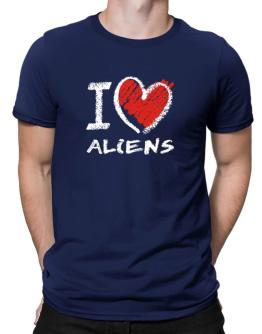 I love Aliens chalk style Men T-Shirt