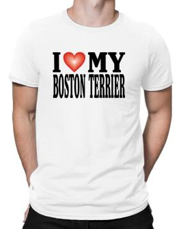 I Love Boston Terrier Men T-Shirt