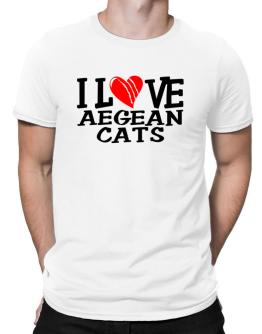 I Love Aegean Cats - Scratched Heart Men T-Shirt