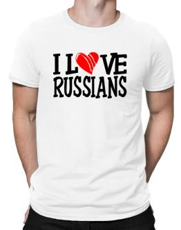 I Love Russians - Scratched Heart Men T-Shirt