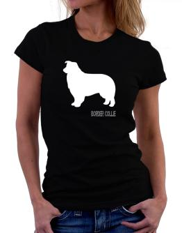 Border Collie Stencil / Chees Women T-Shirt