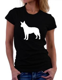 Australian Cattle Dog Silhouette Embroidery Women T-Shirt
