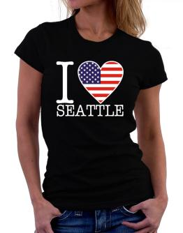 """ I love Seattle - American Flag "" Women T-Shirt"