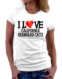 I Love California Spangled Cats - Scratched Heart Women T-Shirt