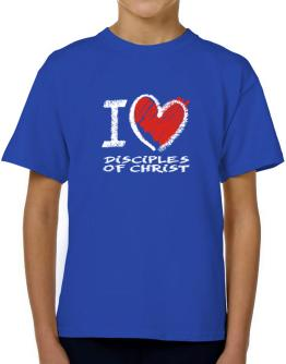 I love Disciples Of Christ chalk style T-Shirt Boys Youth