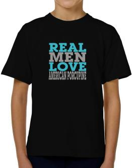 Real Men Love American Porcupine T-Shirt Boys Youth