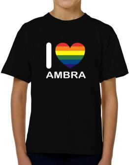 I Love Ambra - Rainbow Heart T-Shirt Boys Youth