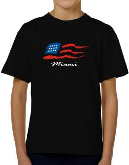 Miami - Us Flag T-Shirt Boys Youth