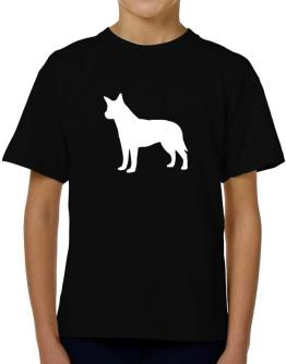 Australian Cattle Dog Silhouette Embroidery T-Shirt Boys Youth