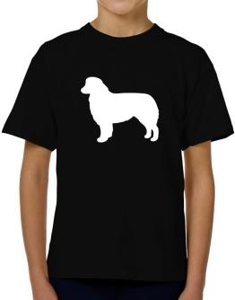 Australian Shepherd Silhouette Embroidery T-Shirt Boys Youth