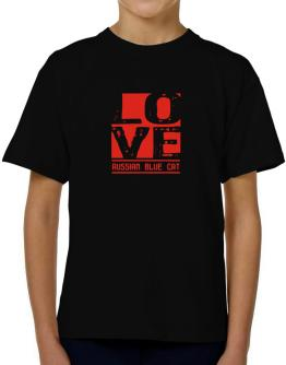 Love Russian Blue T-Shirt Boys Youth