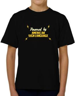 Powered By American Sign Language T-Shirt Boys Youth