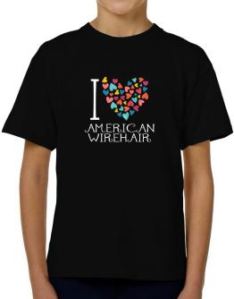 I love American Wirehair colorful hearts T-Shirt Boys Youth