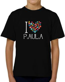 I love Paula colorful hearts T-Shirt Boys Youth