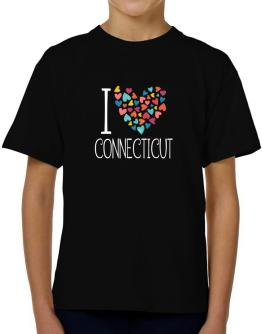 I love Connecticut colorful hearts T-Shirt Boys Youth