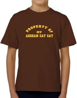 Property Of My Aegean Cat T-Shirt Boys Youth