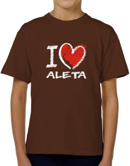 I love Aleta chalk style T-Shirt Boys Youth