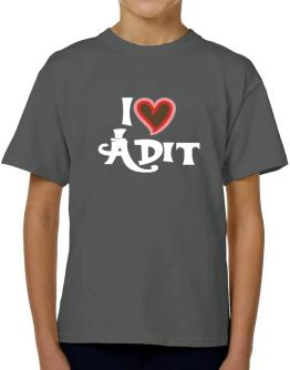 I Love Adit T-Shirt Boys Youth