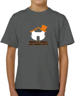 Home Is Where Aegean Cat Is T-Shirt Boys Youth