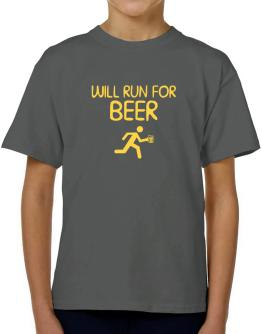 Will Run For Beer T-Shirt Boys Youth