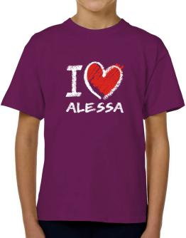 I love Alessa chalk style T-Shirt Boys Youth